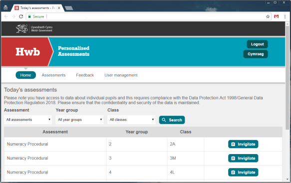 hwb personalised assessments